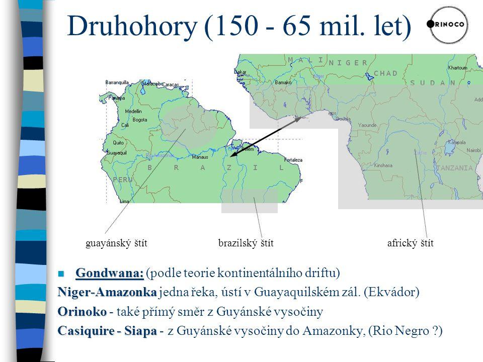 Druhohory (150 - 65 mil. let) guayánský štít. brazilský štít. africký štít. Gondwana: (podle teorie kontinentálního driftu)