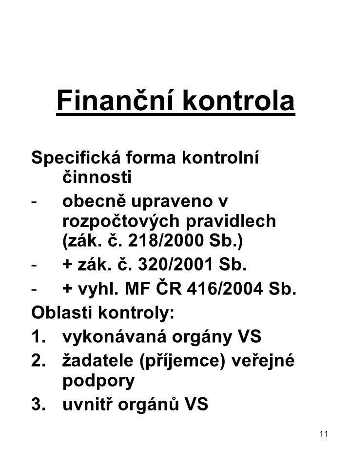 Finanční kontrola Specifická forma kontrolní činnosti