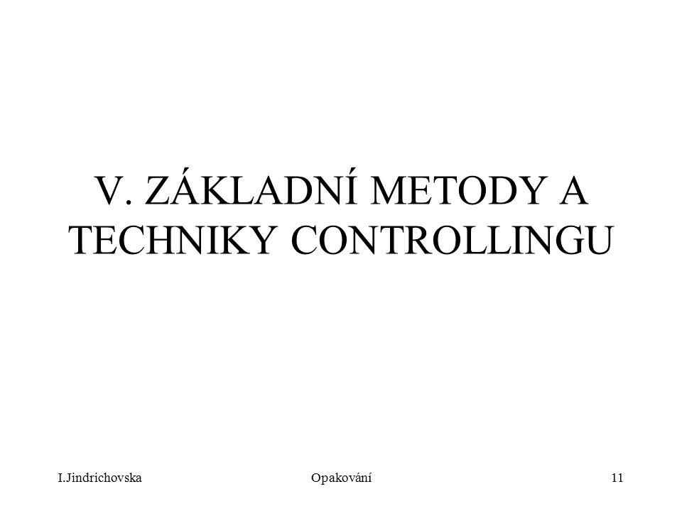 V. ZÁKLADNÍ METODY A TECHNIKY CONTROLLINGU