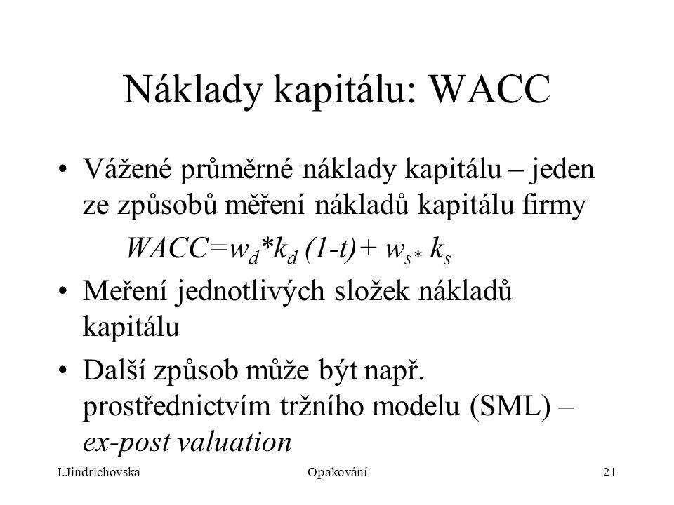 Náklady kapitálu: WACC