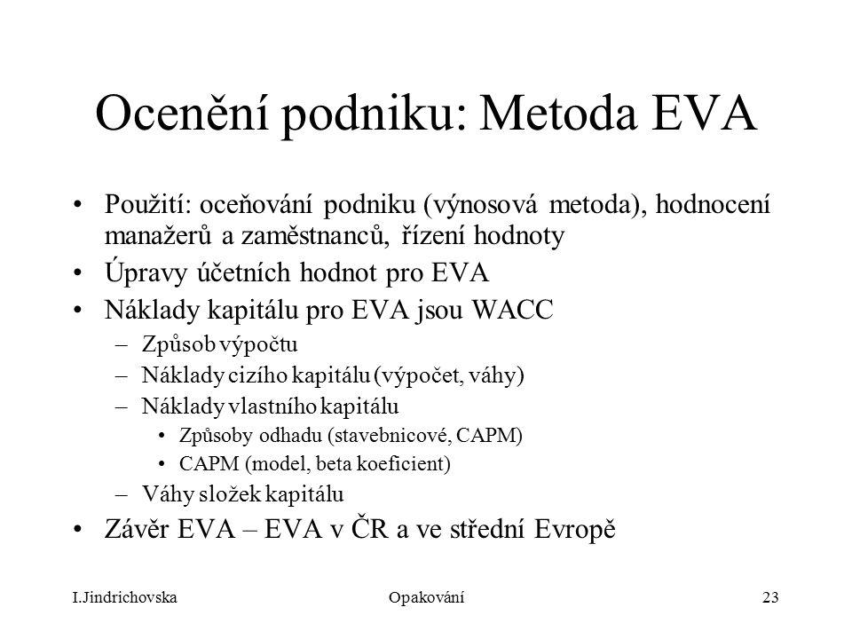 Ocenění podniku: Metoda EVA