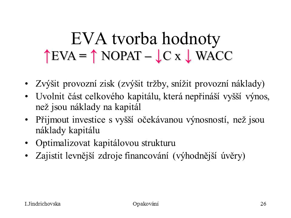 EVA tvorba hodnoty ↑EVA = ↑ NOPAT – ↓C x ↓ WACC
