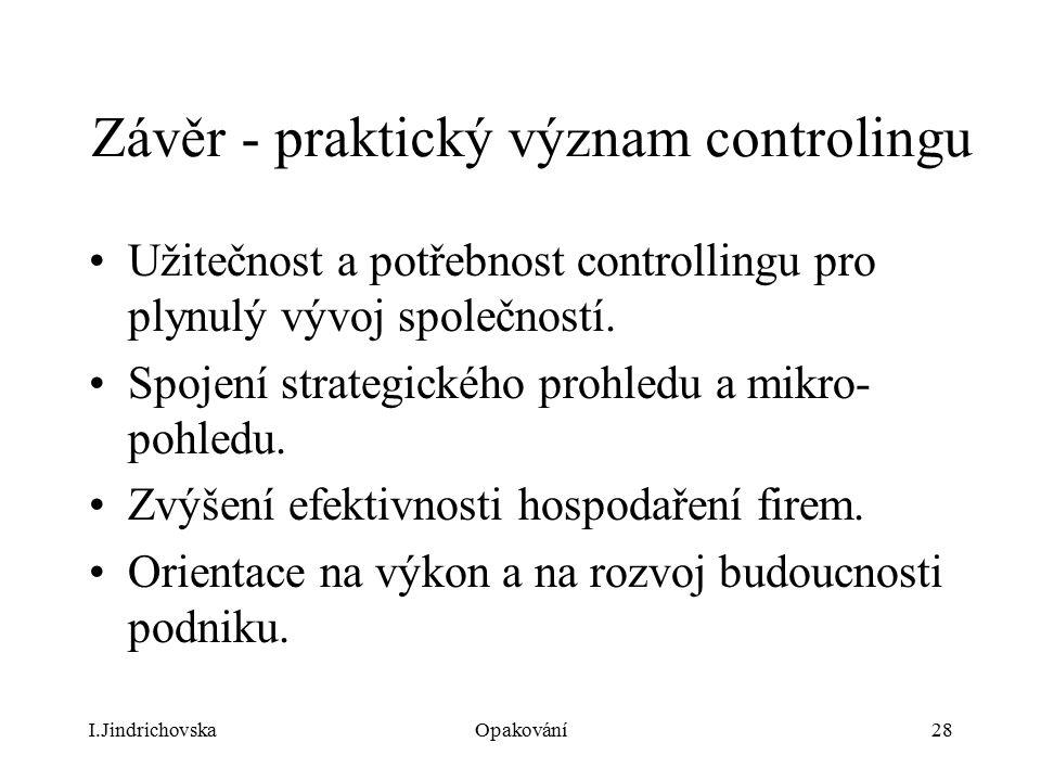 Závěr - praktický význam controlingu