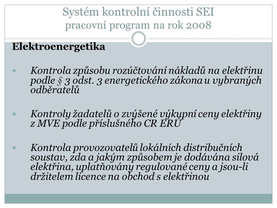 Systém kontrolní činnosti SEI pracovní program na rok 2008