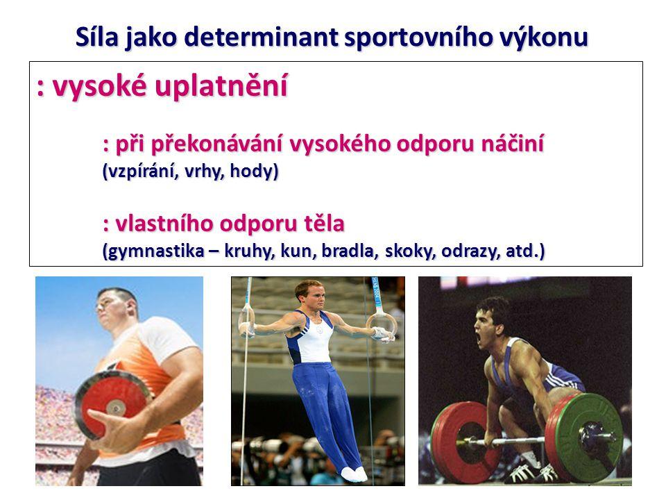 : vysoké uplatnění Síla jako determinant sportovního výkonu