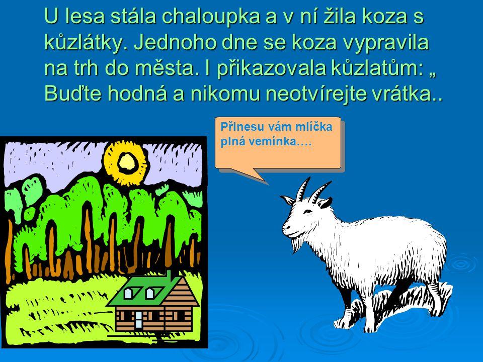 U lesa stála chaloupka a v ní žila koza s kůzlátky
