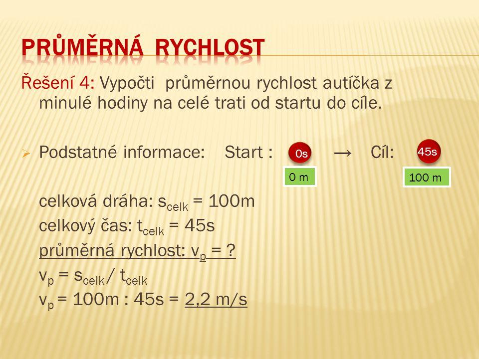 Průměrná RYCHLOST Řešení 4: Vypočti průměrnou rychlost autíčka z minulé hodiny na celé trati od startu do cíle.
