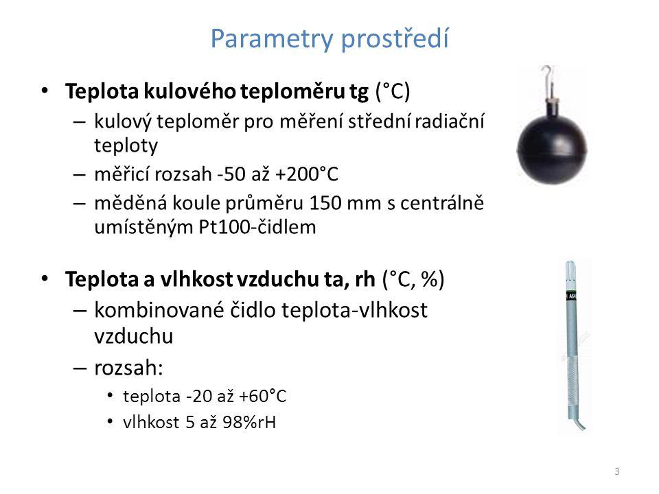Parametry prostředí Teplota kulového teploměru tg (°C)