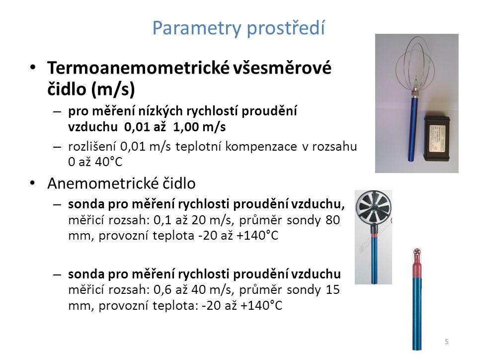 Parametry prostředí Termoanemometrické všesměrové čidlo (m/s)