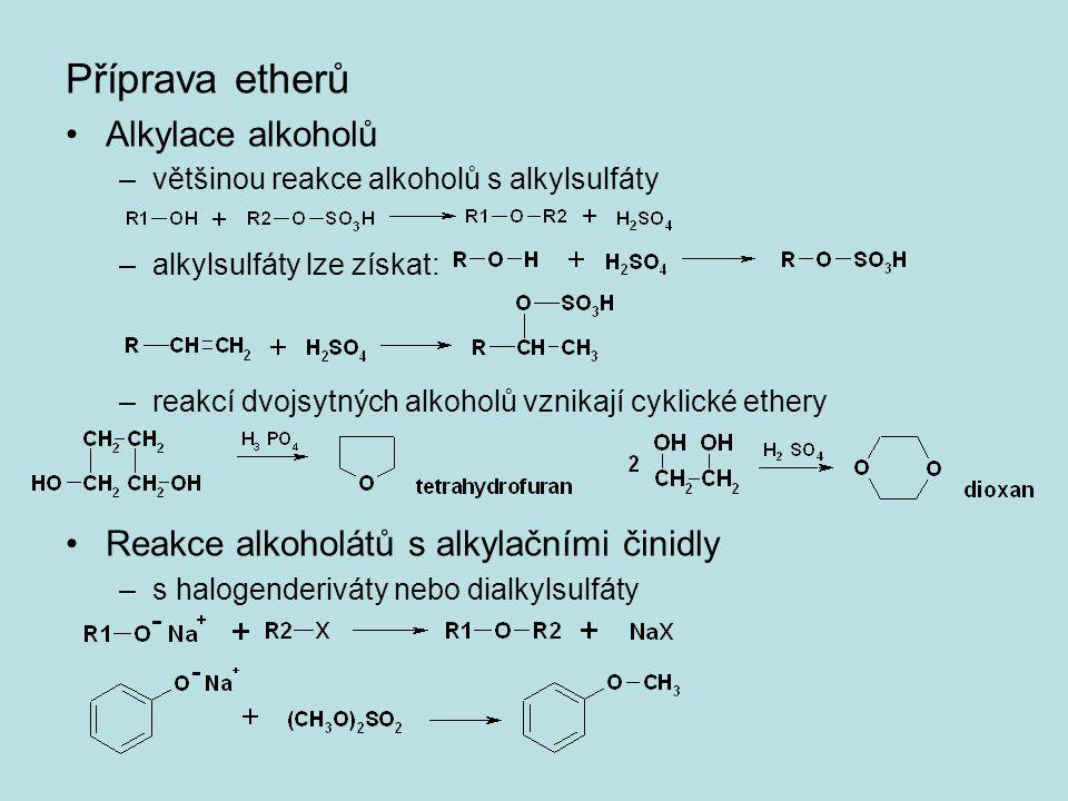 Příprava etherů Alkylace alkoholů