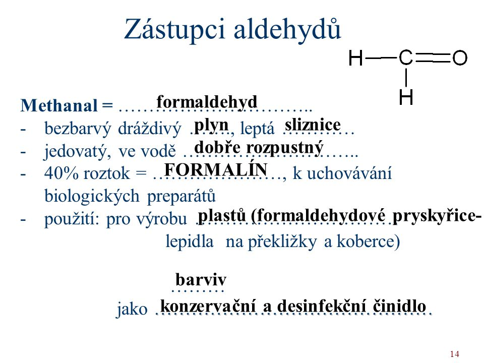 Zástupci aldehydů formaldehyd Methanal = …………………………..