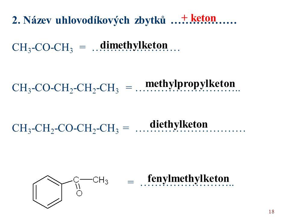 + keton 2. Název uhlovodíkových zbytků ……………… CH3-CO-CH3 = …………………… CH3-CO-CH2-CH2-CH3 = ………………………..