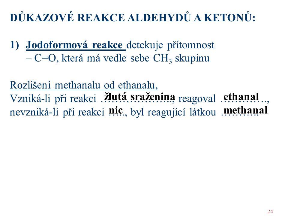 DŮKAZOVÉ REAKCE ALDEHYDŮ A KETONŮ: