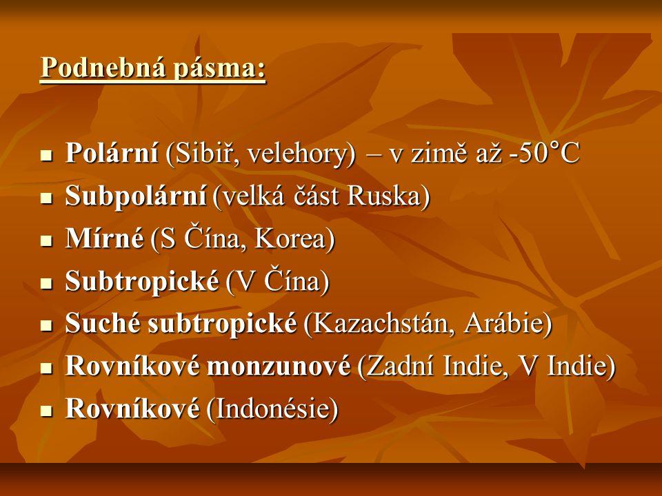Podnebná pásma: Polární (Sibiř, velehory) – v zimě až -50°C. Subpolární (velká část Ruska) Mírné (S Čína, Korea)