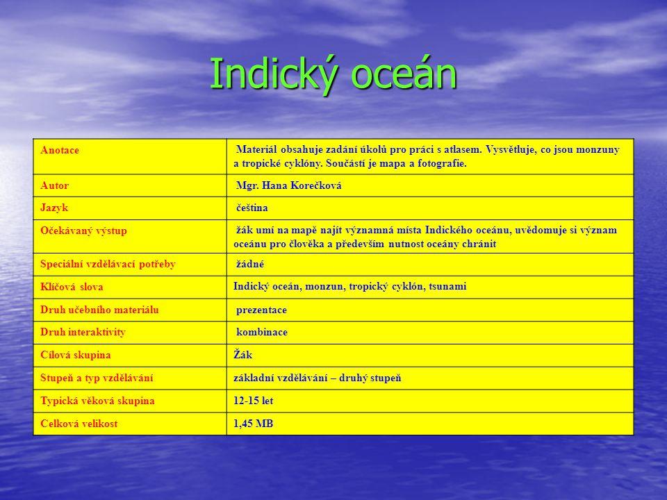 Indický oceán Anotace.