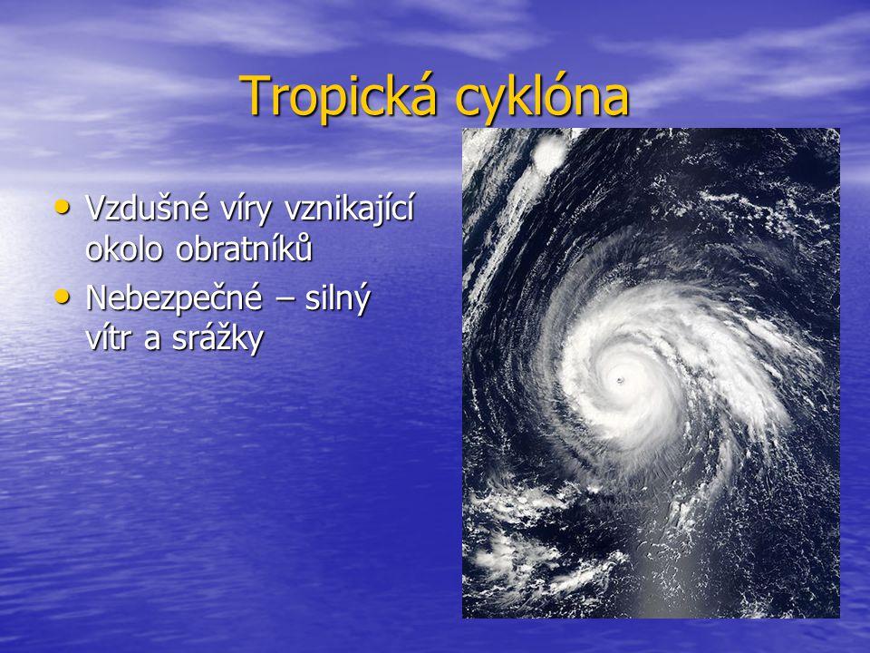 Tropická cyklóna Vzdušné víry vznikající okolo obratníků
