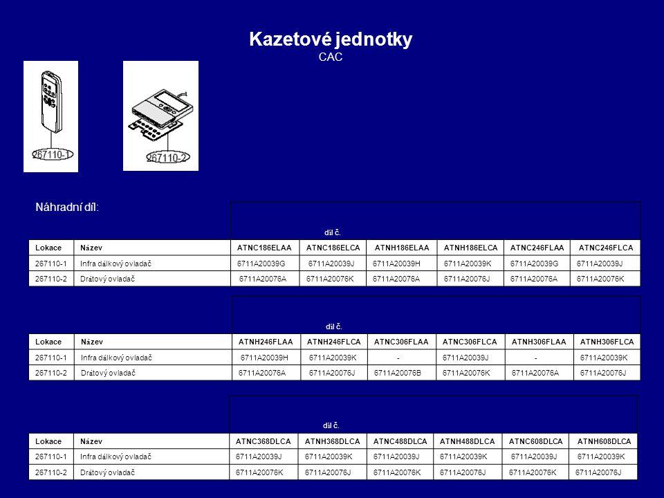 Kazetové jednotky CAC Náhradní díl: 1 1 1 4 4 1 1 díl č. Lokace Název