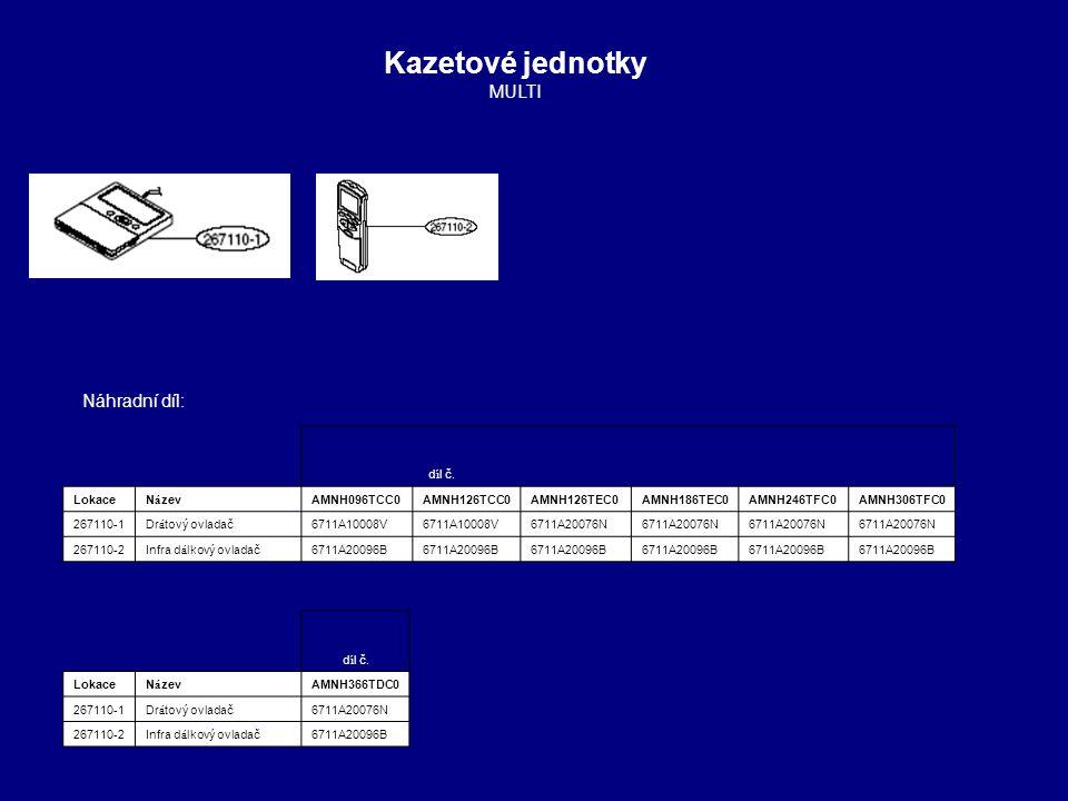 Kazetové jednotky MULTI Náhradní díl: 1 1 1 4 4 1 1 díl č. Lokace