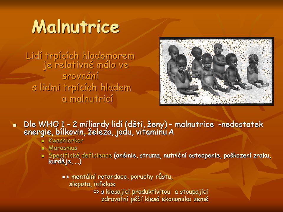 Malnutrice Lidí trpících hladomorem je relativně málo ve srovnání