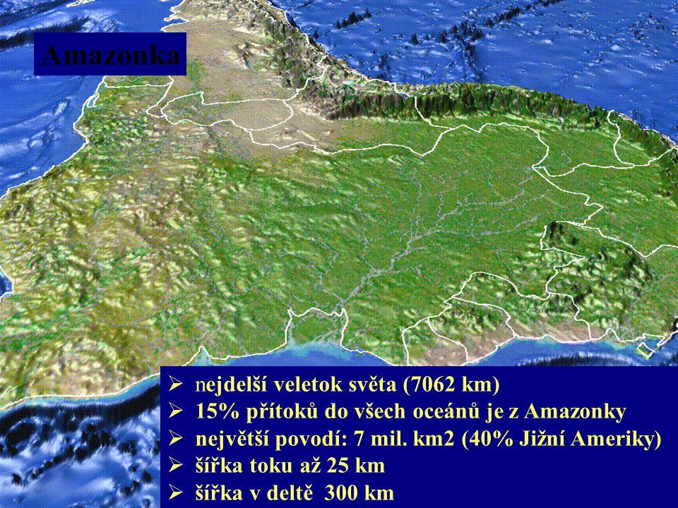 Amazonka nejdelší veletok světa (7062 km)