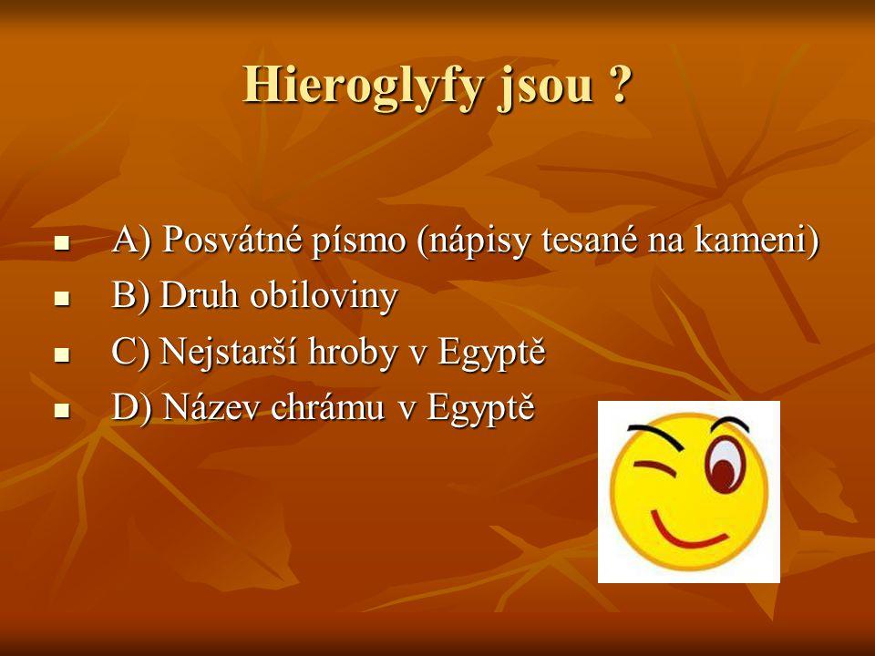 Hieroglyfy jsou A) Posvátné písmo (nápisy tesané na kameni)