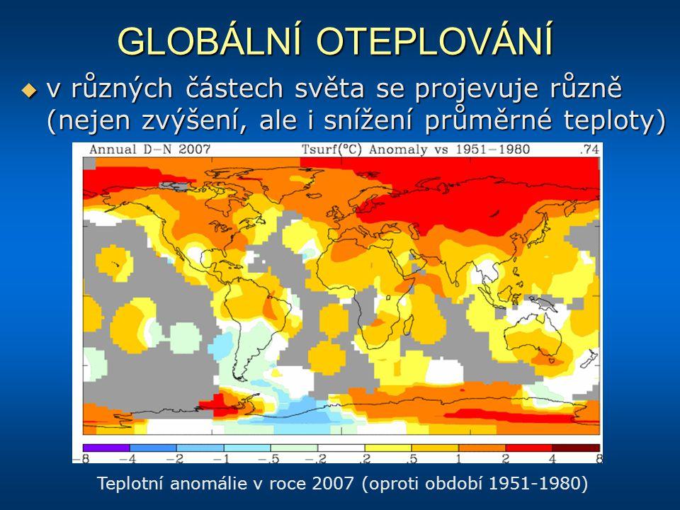 Teplotní anomálie v roce 2007 (oproti období 1951-1980)