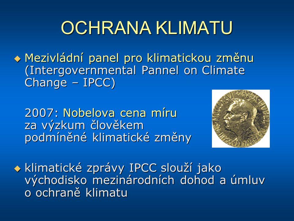 OCHRANA KLIMATU Mezivládní panel pro klimatickou změnu (Intergovernmental Pannel on Climate Change – IPCC)
