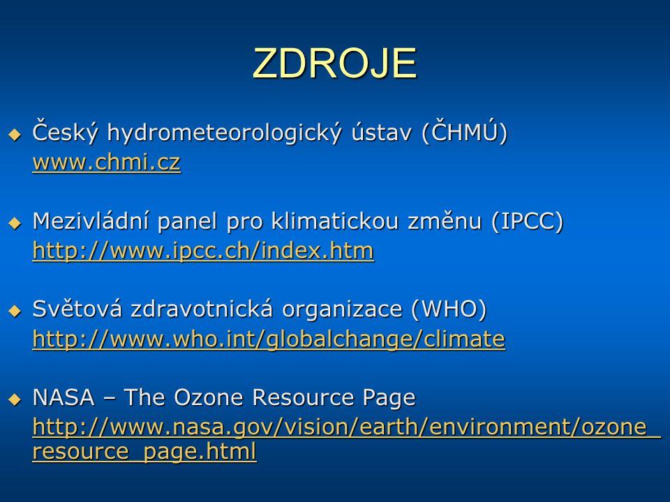 ZDROJE Český hydrometeorologický ústav (ČHMÚ) www.chmi.cz