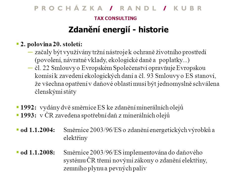 Zdanění energií - historie
