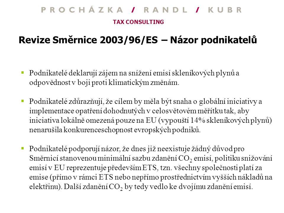 Revize Směrnice 2003/96/ES – Názor podnikatelů