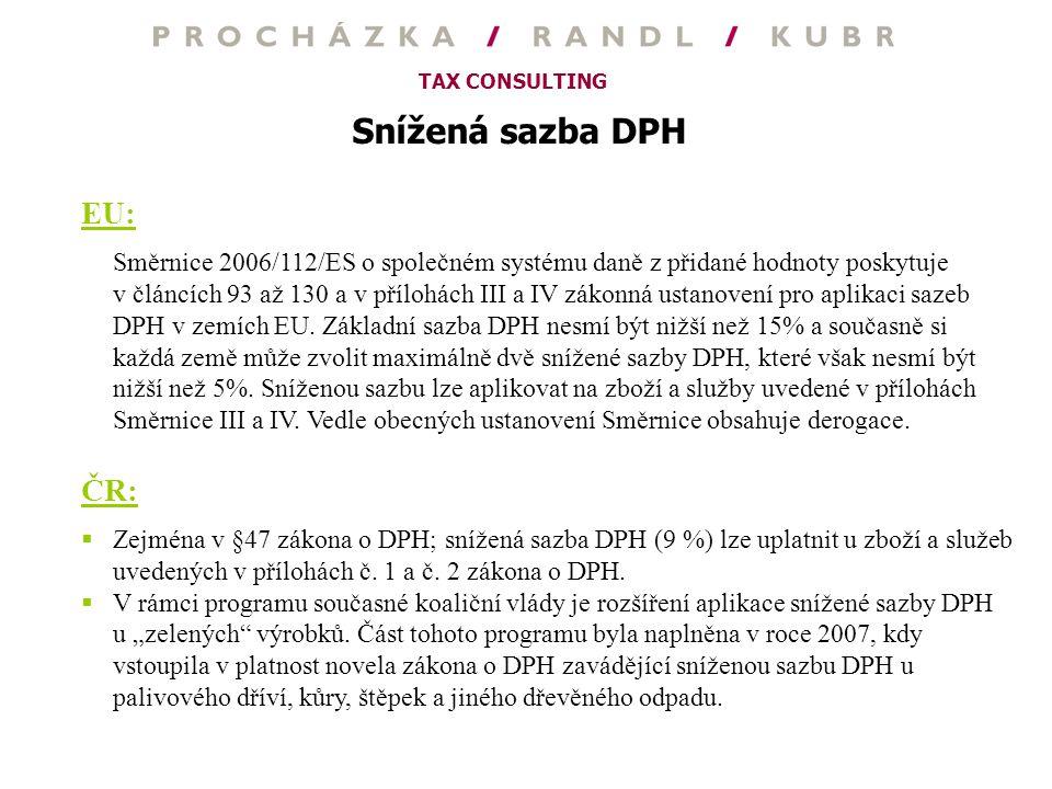 Snížená sazba DPH EU: ČR: