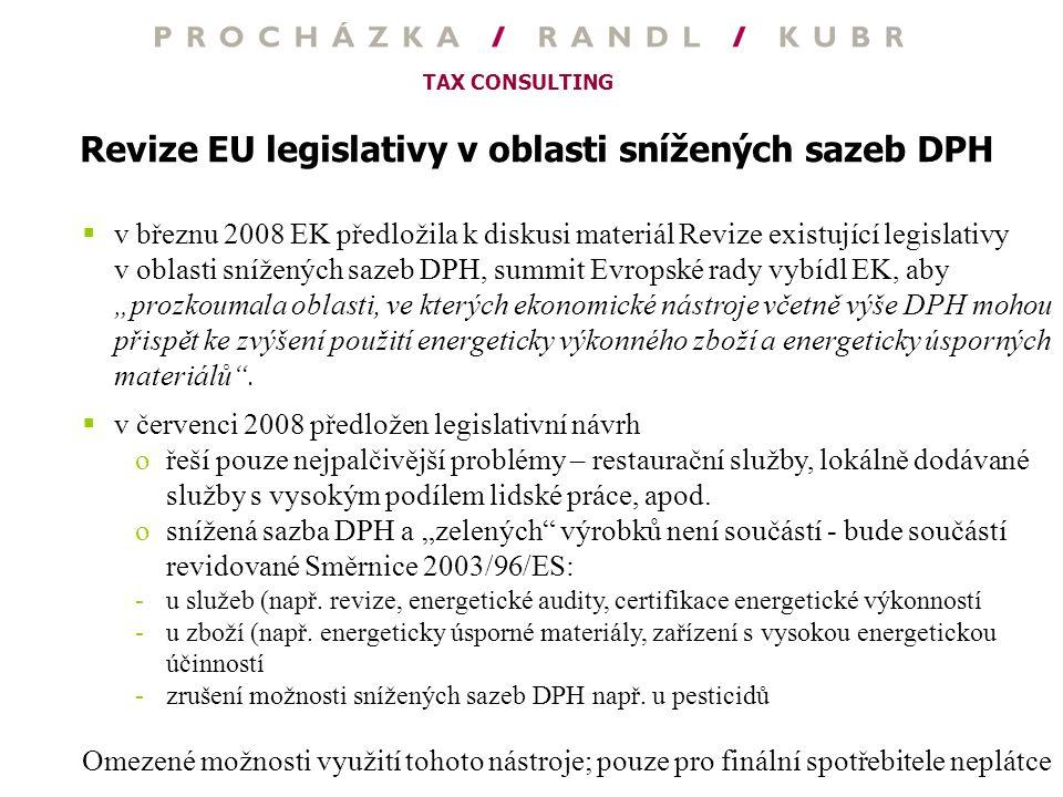 Revize EU legislativy v oblasti snížených sazeb DPH