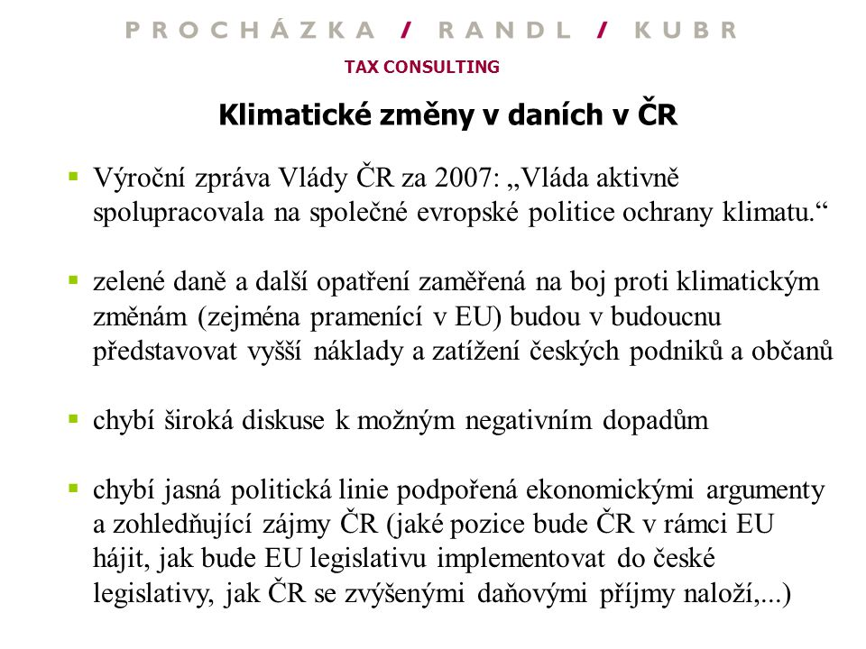 Klimatické změny v daních v ČR