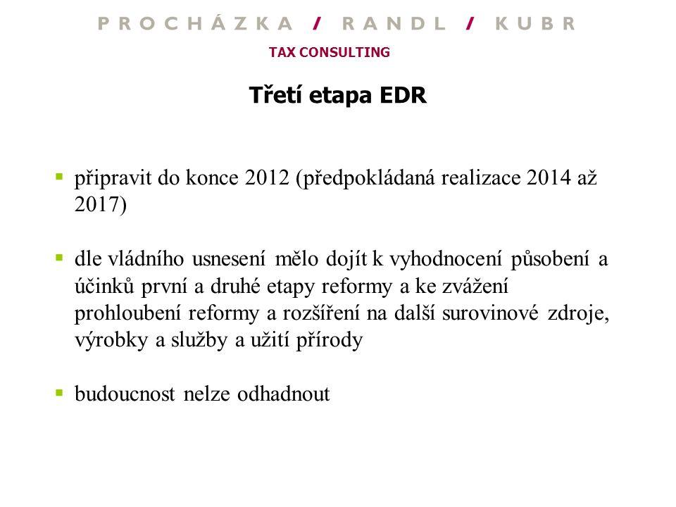 Třetí etapa EDR připravit do konce 2012 (předpokládaná realizace 2014 až 2017)