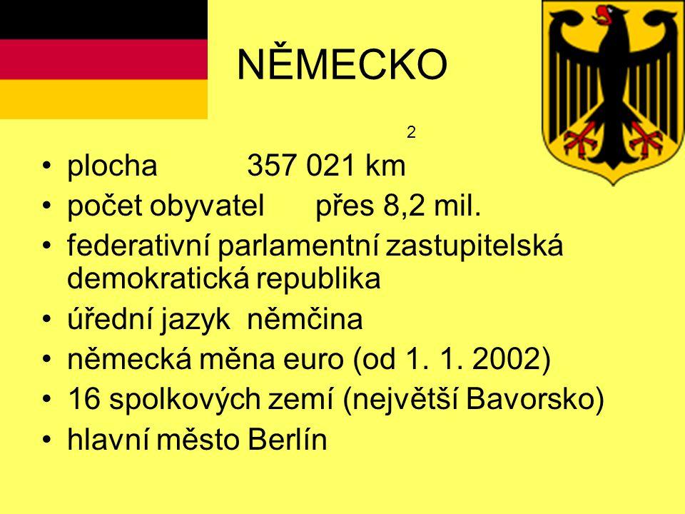 NĚMECKO plocha 357 021 km počet obyvatel přes 8,2 mil.