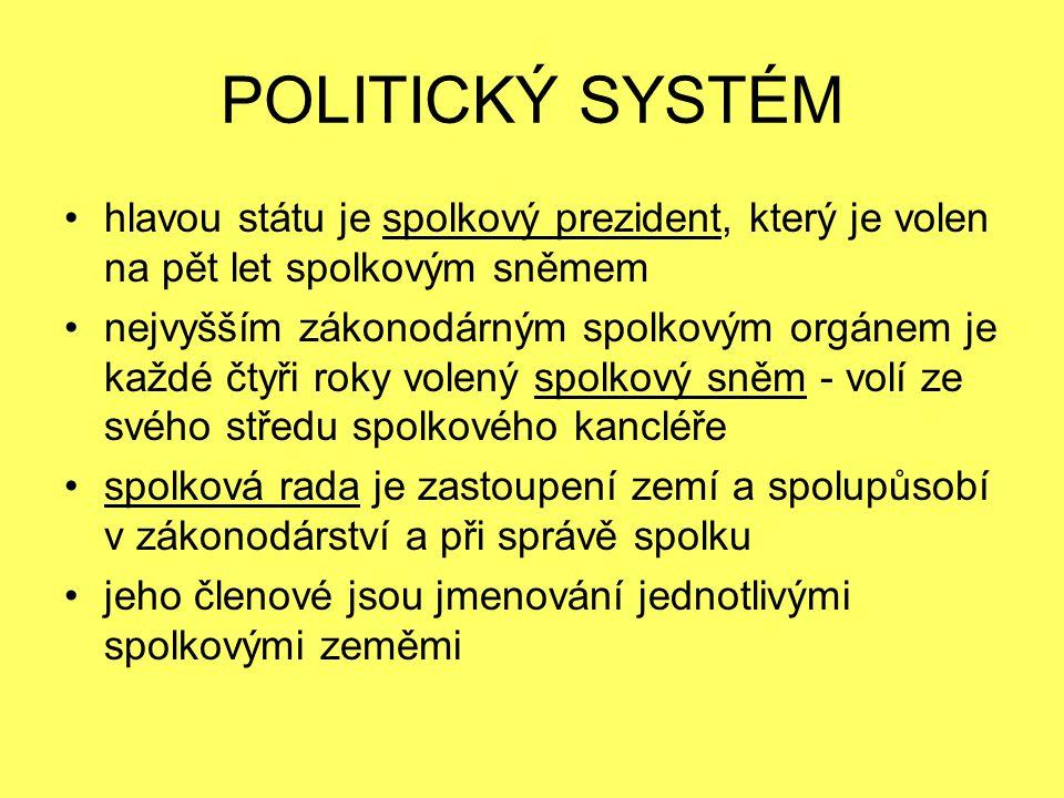 POLITICKÝ SYSTÉM hlavou státu je spolkový prezident, který je volen na pět let spolkovým sněmem.