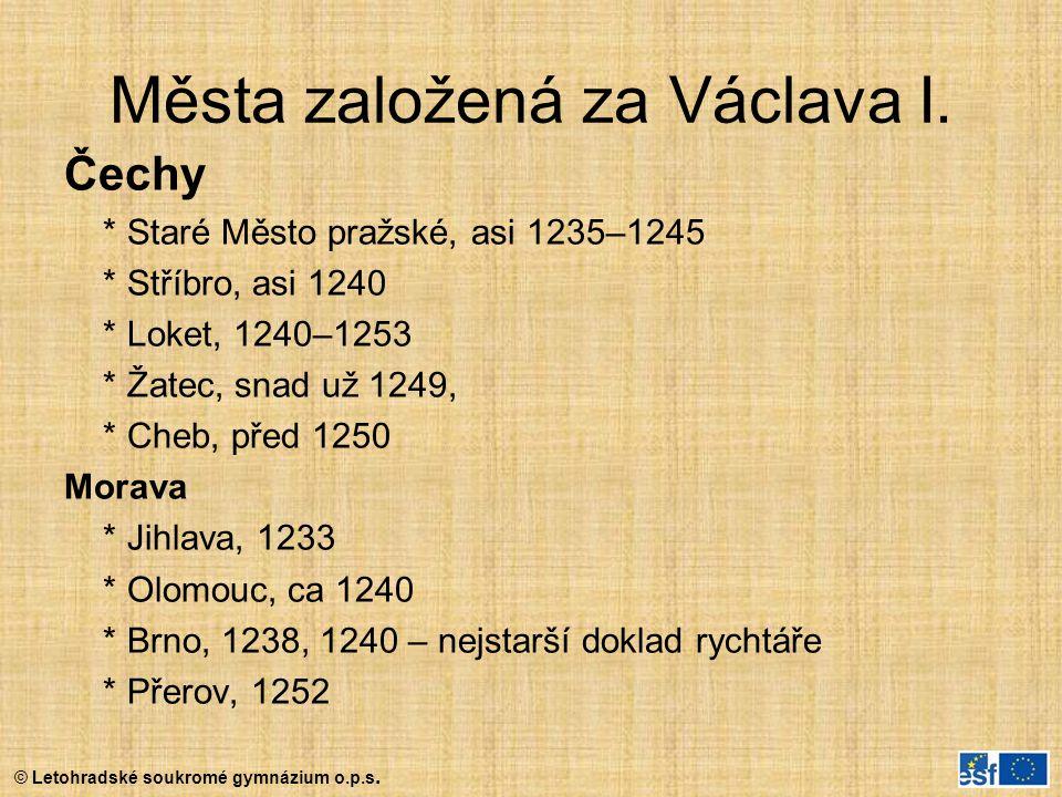 Města založená za Václava I.