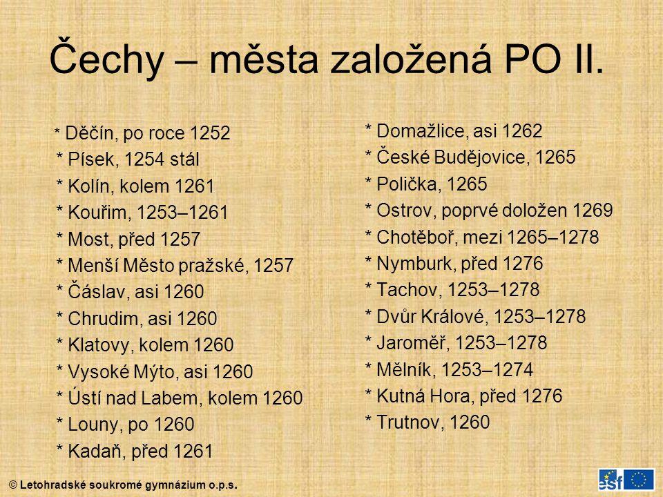 Čechy – města založená PO II.