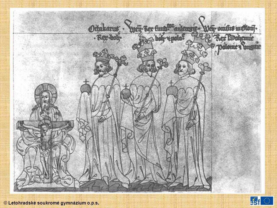 Poslední přemyslovští králové na vyobrazení ze Zbraslavské kroniky