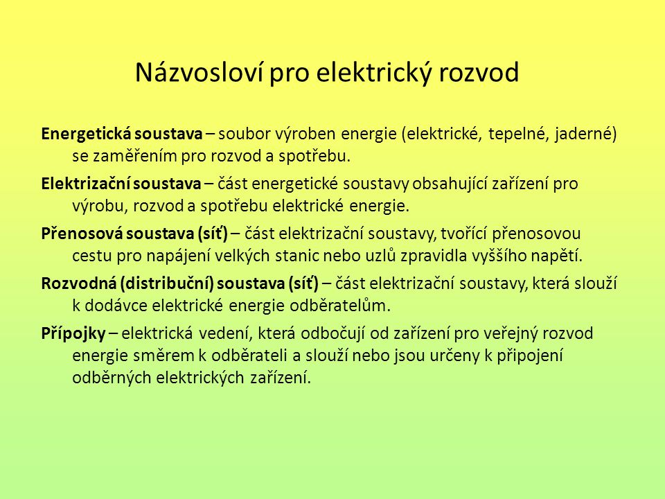 Názvosloví pro elektrický rozvod