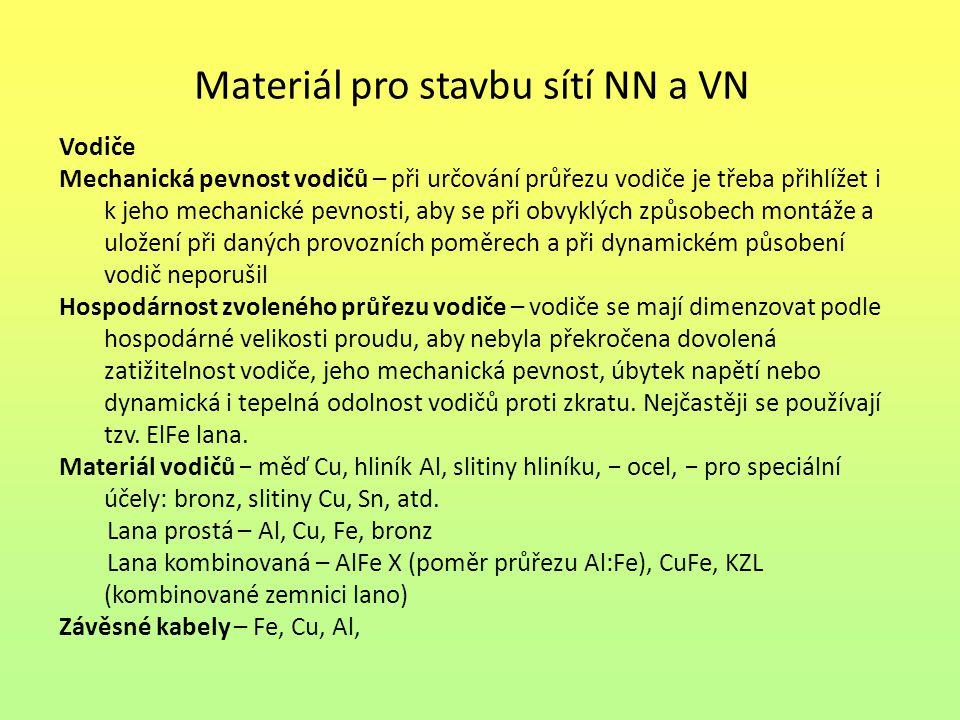 Materiál pro stavbu sítí NN a VN
