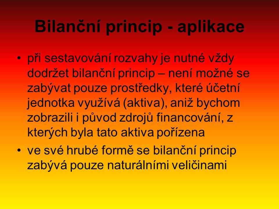 Bilanční princip - aplikace