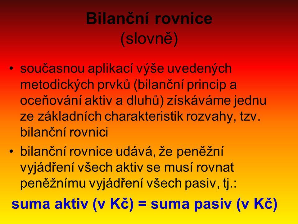 Bilanční rovnice (slovně)