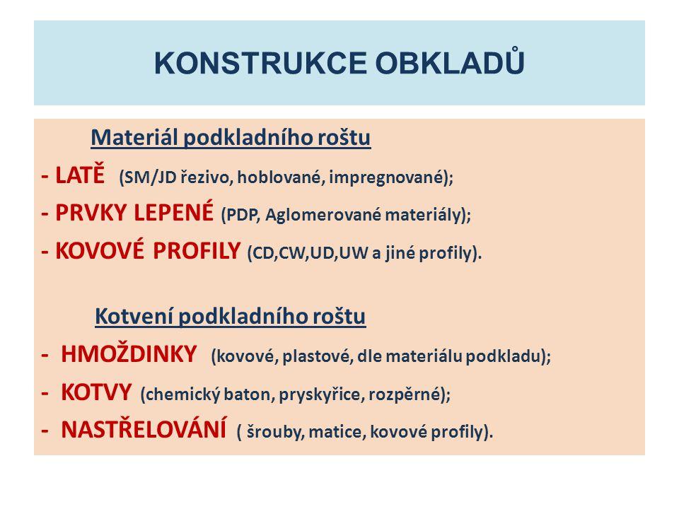 KONSTRUKCE obkladů - LATĚ (SM/JD řezivo, hoblované, impregnované);