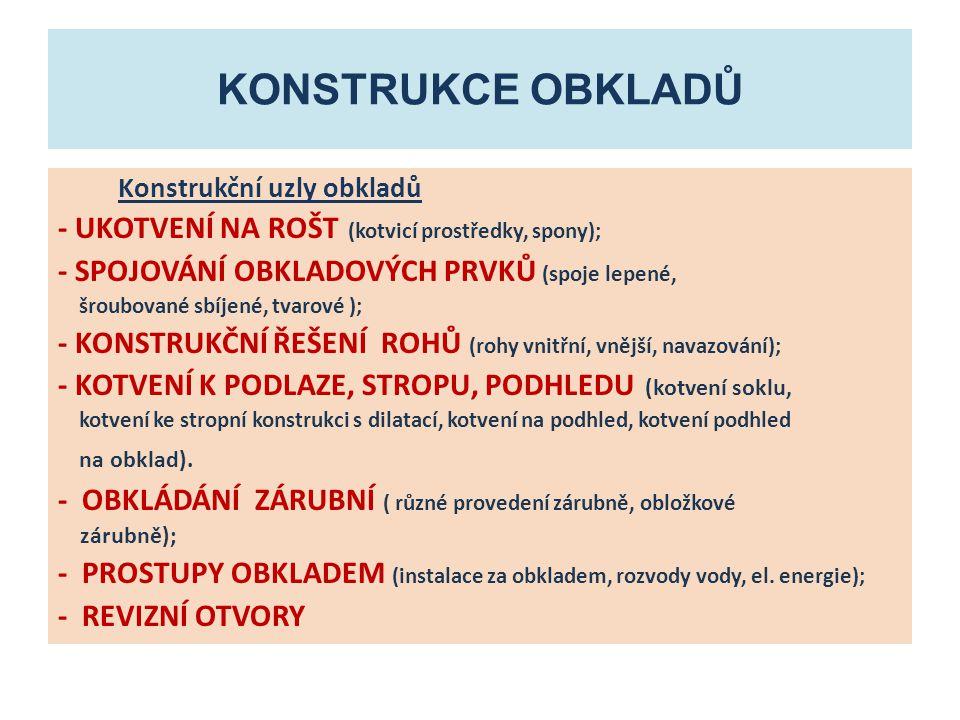 KONSTRUKCE obkladů - UKOTVENÍ NA ROŠT (kotvicí prostředky, spony);
