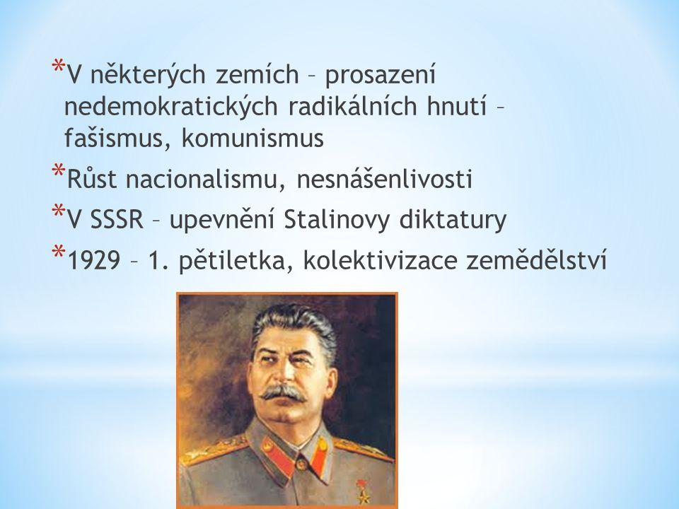 V některých zemích – prosazení nedemokratických radikálních hnutí – fašismus, komunismus
