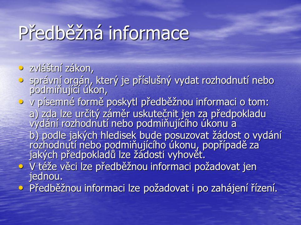 Předběžná informace zvláštní zákon,