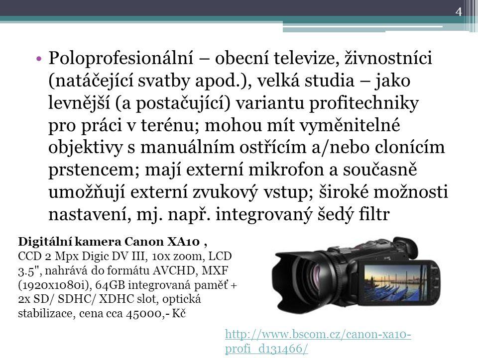 Poloprofesionální – obecní televize, živnostníci (natáčející svatby apod.), velká studia – jako levnější (a postačující) variantu profitechniky pro práci v terénu; mohou mít vyměnitelné objektivy s manuálním ostřícím a/nebo clonícím prstencem; mají externí mikrofon a současně umožňují externí zvukový vstup; široké možnosti nastavení, mj. např. integrovaný šedý filtr