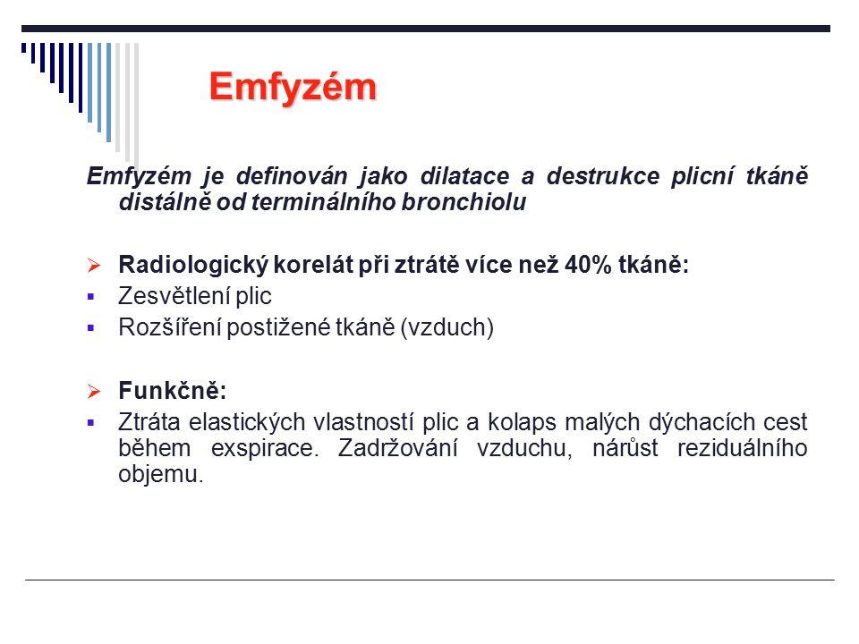 Emfyzém Emfyzém je definován jako dilatace a destrukce plicní tkáně distálně od terminálního bronchiolu.