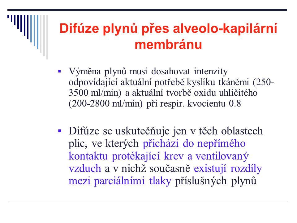 Difúze plynů přes alveolo-kapilární membránu